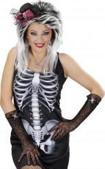 Guantes Halloween telaraña con cráneo mujer