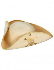 Sombrero pirata beige y dorado mujer