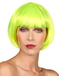 Peluca corta amarillo fluorescente mujer