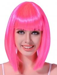 Peluca recta media melena rosa fluorescente mujer