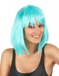 Peluca cuadrada media melena azul mujer