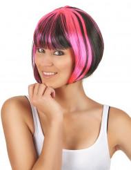 Peluca recta corta mechas negra rosa mujer