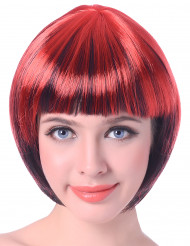 Peluca corta roja y negra mujer