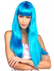 Peluca azul larga flequillo mujer
