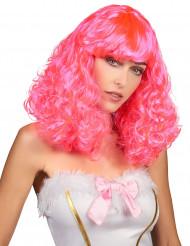 Peluca media melena ondulada rosa mujer