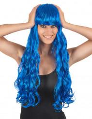 Peluca larga ondulada azul flequillo mujer