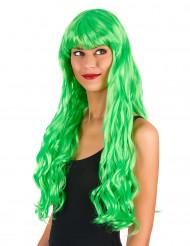 Peluca larga ondulada verde fluorescente flequillo mujer