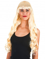 Peluca larga ondulada rubia flequillo mujer