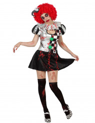 Disfraz arlequín sexy ensangrentado mujer