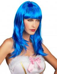Peluca larga azul flequillo mujer