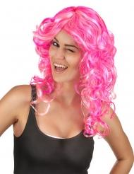 Peluca rosa rizada mujer