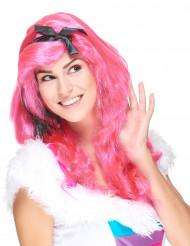 Peluca larga rosa glamour mujer