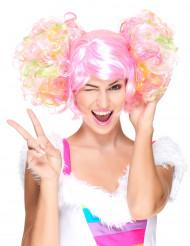 Peluca rosa clara coletas rizadas mujer