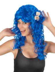 Peluca larga azul mujer