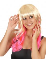 Peluca tie-dye rubia rosa mujer