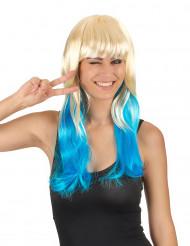 Peluca tie-dye rubia azul mujer