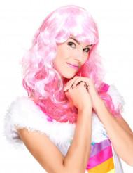 Peluca glamour flequillo rosa mujer