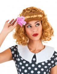 Peluca pelirroja retro flor mujer