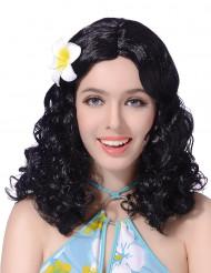 Peluca negra flor mujer