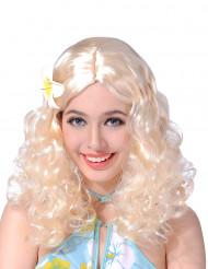 Peluca rubia flor mujer