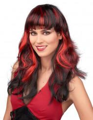 Peluca negra flequillo reflejos rojo mujer