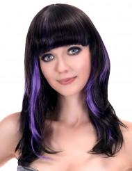 Peluca negra flequillo mechas violeta mujer