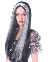 Peluca larga negra y blanca mujer 60 cm