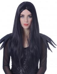 Peluca larga negra mujer 60 cm
