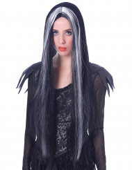 Peluca larga negra y blanca mujer 75 cm