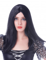 Peluca larga negra mujer 45 cm