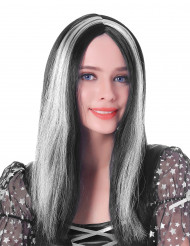 Peluca larga negra blanca mujer 45 cm