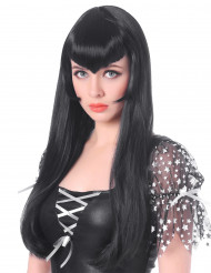 Peluca vampiro larga negra flequillo para mujer