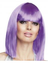 Peluca cuadrada media melena violeta mujer