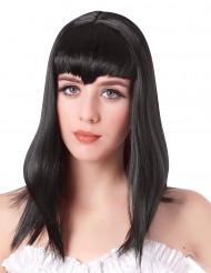 Peluca vampiro larga negra flequillo mujer