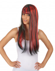 Peluca larga negra flequillo mechas rojo mujer