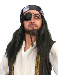 Peluca pirata bandana calavera hombre