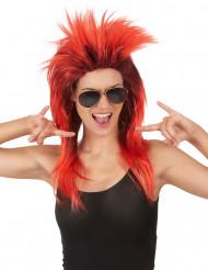 Peluca cantante rock roja negra mujer