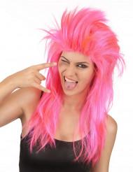 Peluca cantante rock rosa mujer