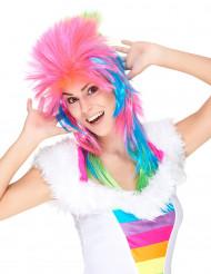 Peluca multicolor cantante rock mujer