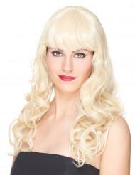 Peluca rubia ondulado flequillo mujer Deluxe 221 g