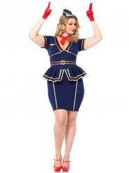 Disfraz azafata de vuelo mujer talla grande