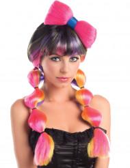 Peluca multicolor coletas lazo mujer 258 g
