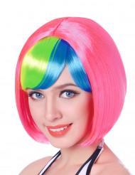 Peluca corta rosa flequillo fluorescente mujer 110 g