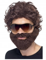 Peluca con barba marrón hombre