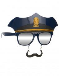 Gafas con bigote policía adulto