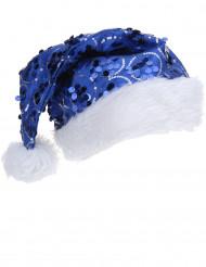 Gorro lentejuelas azul adulto Navidad