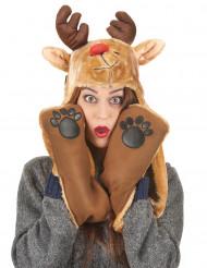 Gorro con bufanda reno adulto Navidad