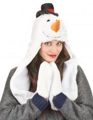 Gorro con bufanda muñeco de nieve adulto Navidad