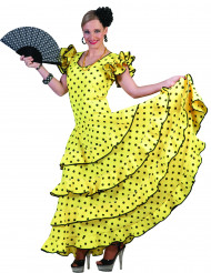 Disfraz flamenca amarillo puntos mujer