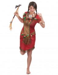 Disfraz de india rojo mujer